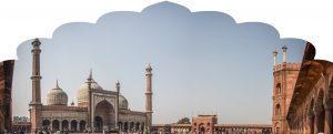 Vista lateral da grande mesquita jama masjid em Nova Delhi, durante nossa Viagem à Índia